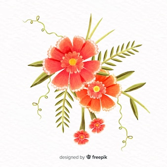 Watercolor style coral flower