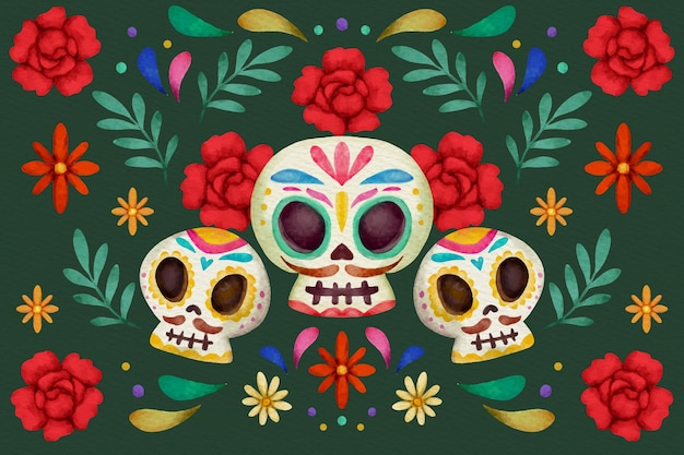 Watercolor style day of the dead background