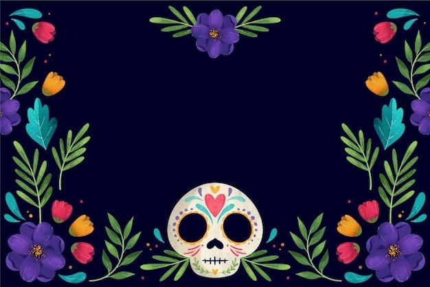 頭蓋骨と死者の水彩風の日