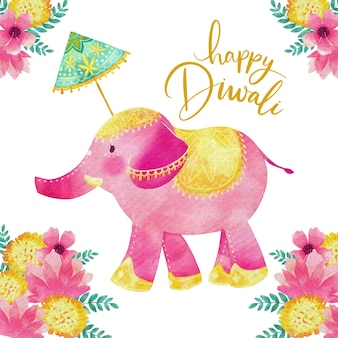 Watercolor style diwali colorful elephant