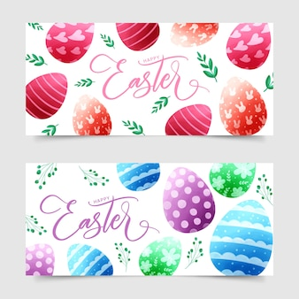 Watercolor style easter day banners