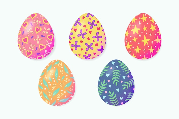 Watercolor style easter day egg collection