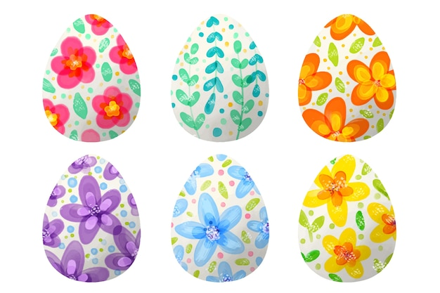 Watercolor style easter day egg set