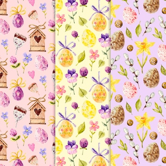 Watercolor style easter day patterns