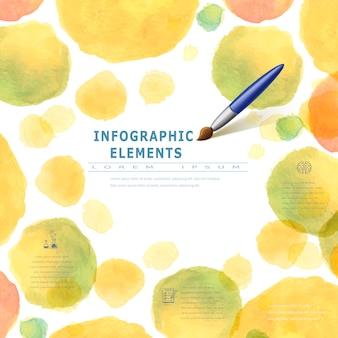 ブラシ要素と水彩スタイルの教育インフォグラフィック