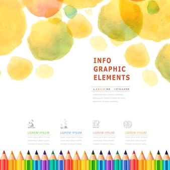 Инфографика образования в стиле акварели с элементом красочных карандашей