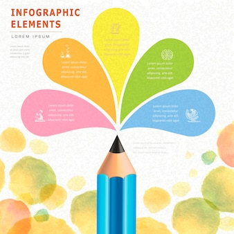 Watercolor style education infographic with pencil element