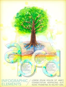 나무와 책 요소와 수채화 스타일 교육 인포 그래픽