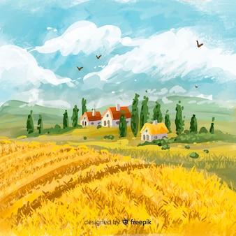 Watercolor style farm landscape background