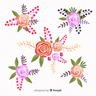 Watercolor style floral collection