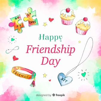 Watercolor style friendship day background