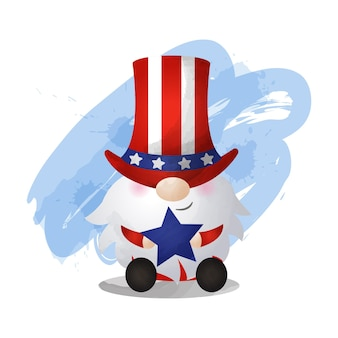Watercolor style gnome wearing american costume 4th july celebration day