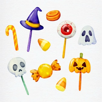 Watercolor style halloween candy collection