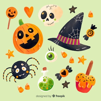 Watercolor style halloween element collection