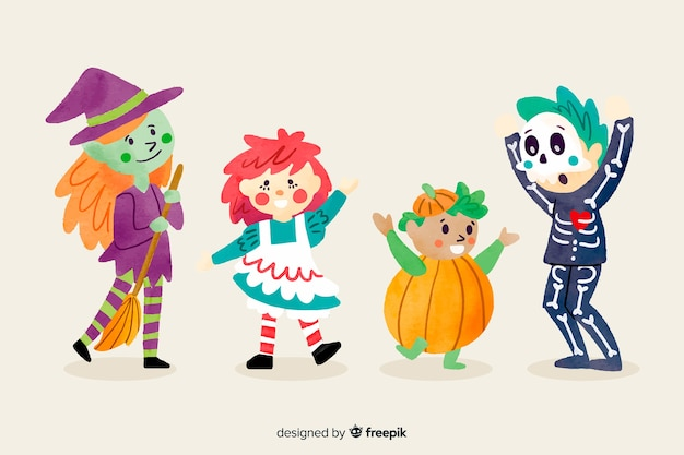 Watercolor style halloween kid collection