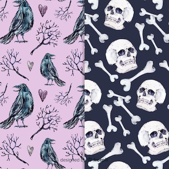 Watercolor style halloween pattern collection