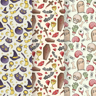 Watercolor style halloween patterns