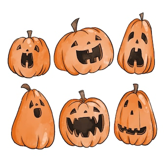 Watercolor style halloween pumpkin collection