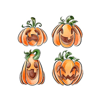 Watercolor style halloween pumpkin pack