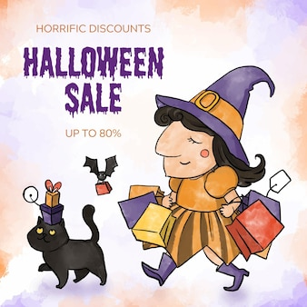 Watercolor style halloween sale Free Vector