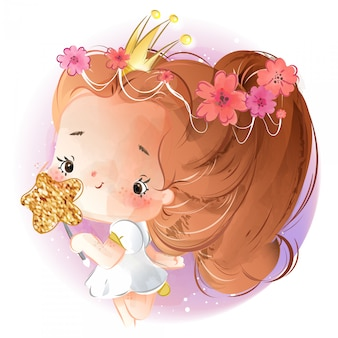 Watercolor style hand painting a bright girl with a crown princess