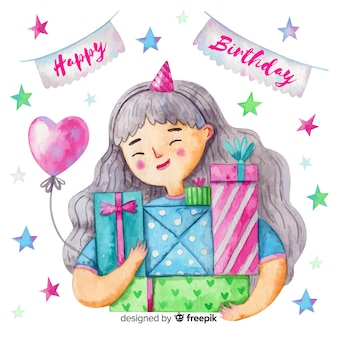Watercolor style happy birthday background