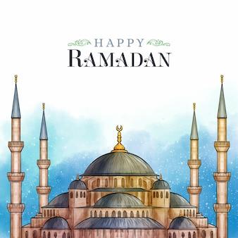Watercolor style happy ramadan