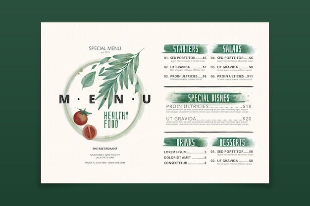 Watercolor style healthy food menu