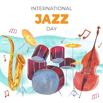 Международный день джаза в стиле акварели