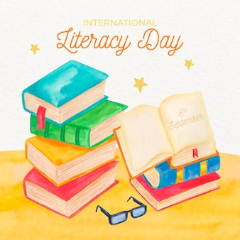 Watercolor style international literacy day