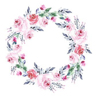 Watercolor style luxuriant floral wreath