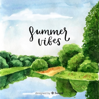 Watercolor style natural landscape background