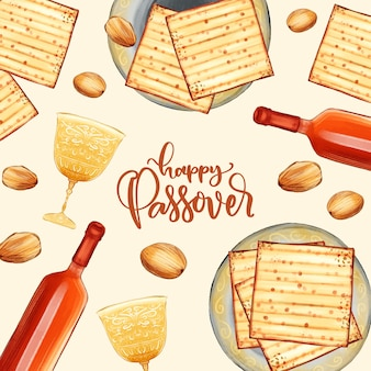Watercolor style passover celebration