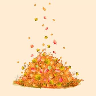 Mucchio di foglie colorate in stile acquerello