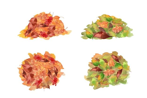Collezione di pile di foglie in stile acquerello