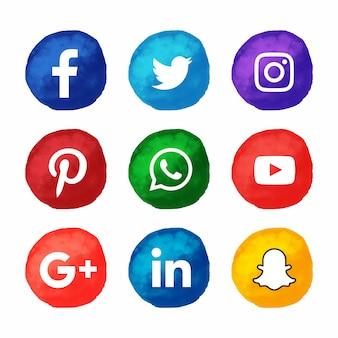 水彩スタイルの人気のソーシャルメディアアイコンが設定されています