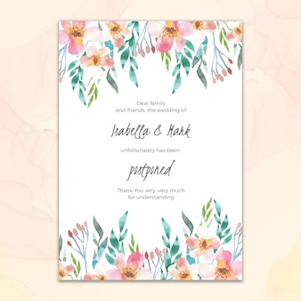 Watercolor style postponed wedding card