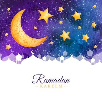 Watercolor style ramadan celebration