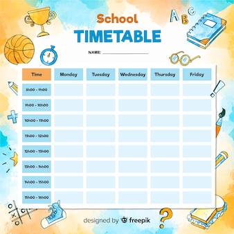Watercolor style school timetable template