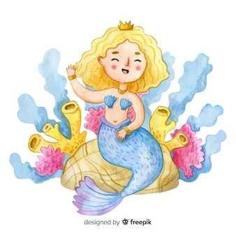 Watercolor style smiling mermaid character