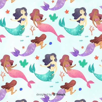 Watercolor style smiling mermaid pattern