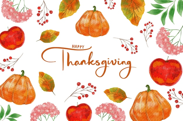 Watercolor style thanksgiving background