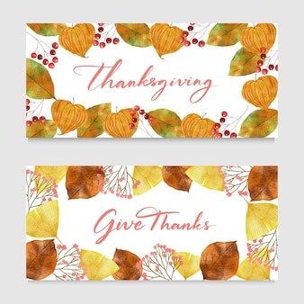 Watercolor style thanksgiving banners