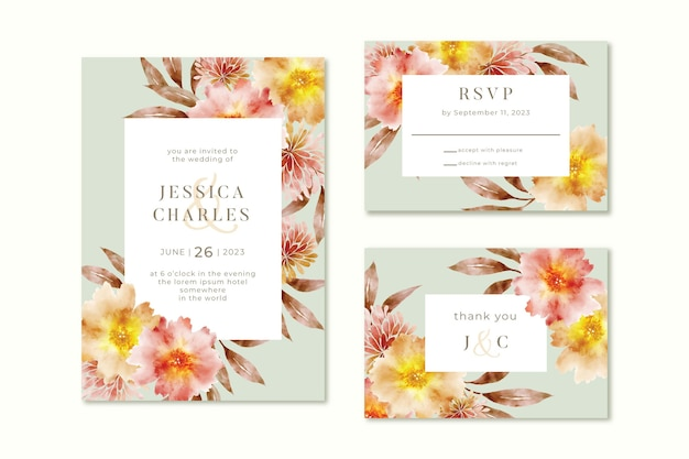 Watercolor style wedding invitation template