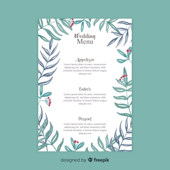 Watercolor style wedding menu template
