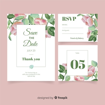 Watercolor style wedding stationery template