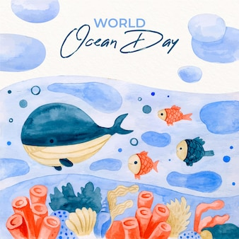 Watercolor style world oceans day