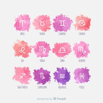Watercolor style zodiac signs collection
