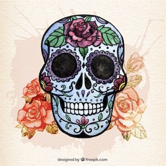 Watercolor sugar skull with flowers