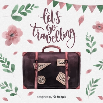 Watercolor suitcase background